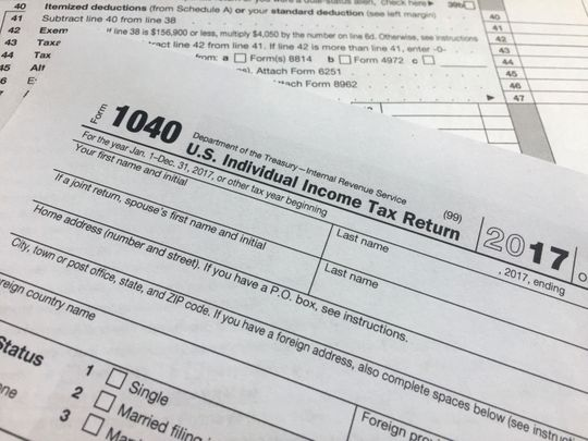 An IRS 1040 form, U.S. Individual Income Tax Return, is shown on Thursday, April 5, 2018, in New York. (Photo: Jenny Kane, AP)